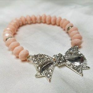 Light Pink Bow Diamond Bracelet